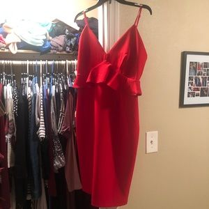 SugarLips- red peplum, fitted dress with ruffles
